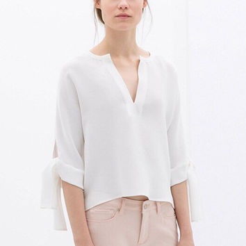 White Deep V-Neck Chiffon Half Sleeve Top