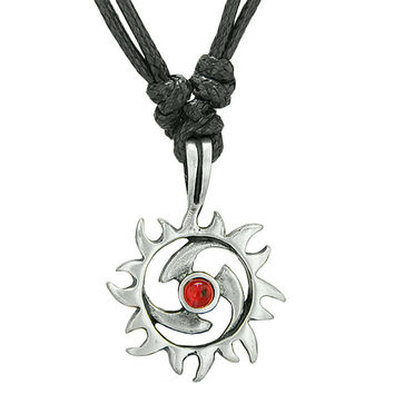 Amulet Magic Celtic Sun Red Circle Protection Powers Pewter Pendant Necklace