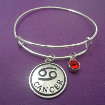 Zodiac Jewelry ~ Cancer Bracelet , Ruby Birthstone Gift, July Birthday Present , Astrology Gifts for her , Horoscope Birthday Gifts