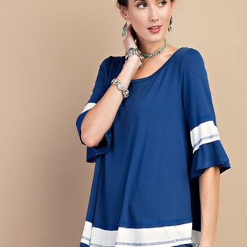 Blue Color Block Tunic Tee