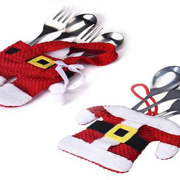 Christmas Decorations Kitchen Silverware Pocket Dinner Cutlery Bags
