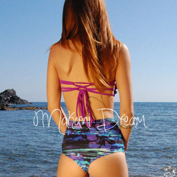Rushed Bandeau Ballet Bikini Top BORACAY in Ocean, by MAKANI DREAM Swimwear