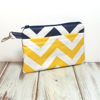 Navy Clutch Bag - Chevron Style - Cell Phone Wallet - iPhone Clutch - Navy and Yellow - Teen Clutch Bag - Cute Zipper Bag - Phone Clutch