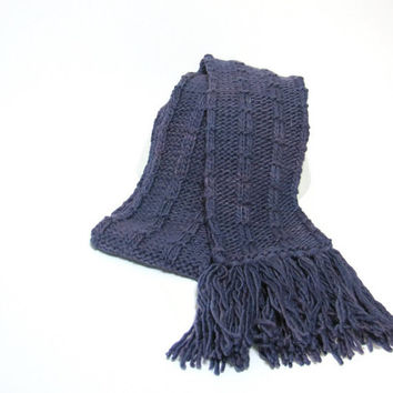 Hand Knit Scarf - Purple Malabriego Yarn CIJ ChristmasInJuly Christmas In July