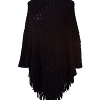 Two-Tone Pullover Poncho With Fringe Trim
