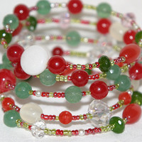 Christmas Jewelry, Green and Red, Gemstones, Jewelry, Cuff Bracelet,Bracelet,Christmas, Jewel tone