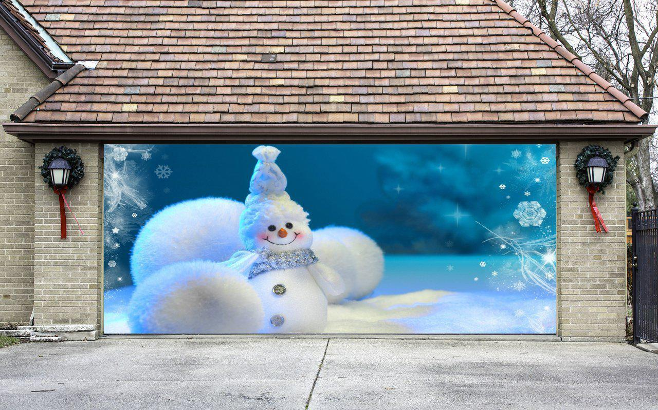 Christmas garage door cover banners 3d from amazon christmas for 3d snowman door decoration