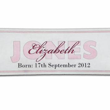 Personalized Birth and Name Sign 20x7 Inch