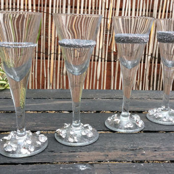 Silver Diamonds shot glasses (set of 4)