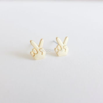 V sign post earrings, V for Victory earrings, V jewelry