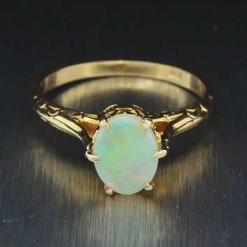 1880s Antique Victorian Estate 10k Solid Yellow Gold 1.00ctw Oval Opal Ring