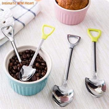 Kitchen Tools Tableware Spoon&fork Creative Shovel Shaped  Stainless Steel Coffee Ice Cream Spoons Practical Forks