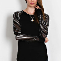 One Call Away Black Mesh Sequin Top