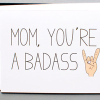 mothers day card. mom birthday card. Mom you are a badass. little sloth cards