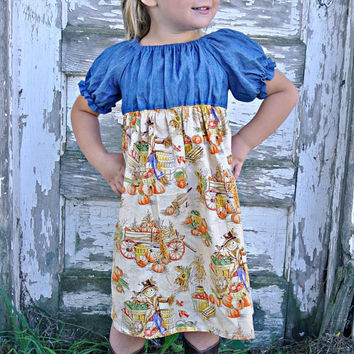 Chambray and Scarecrow Print Peasant Dress/Boutique dresses/Boutique dresses/Girls Dresses/Baby Dresses/Toddler Dresses/Peasant dresses