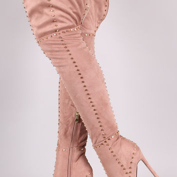 Studded Suede Pointy Toe Stiletto Boots | UrbanOG