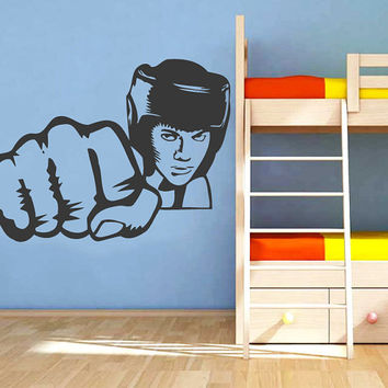 Boxer In Helmet Beats His Fist Vinyl Decals Wall Sticker Art Design Living Room Modern Bedroom Nice Picture Home Decor Hall  Interior ki972