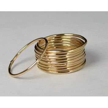 Thin Round 14k Gold Filled Stackable Rings