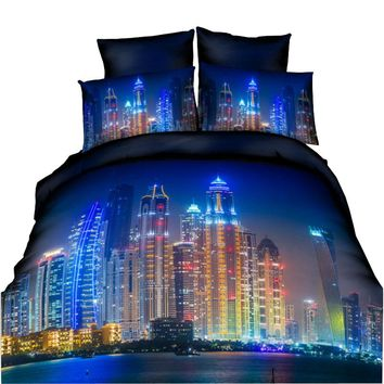 HD High Quality Printed 3D Bedding Sets King Size For USA Europe Brazil Russia 3D Duvet Cover Set Bedclothes City Night