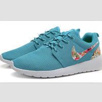 NIKE Women Men Running Sport Casual Shoes Sneakers Blue Print