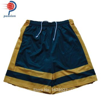 Custom Navy Blue Men's Stripe Volleyball Shorts In Summer Free Design Lacrosse Shorts For Teams