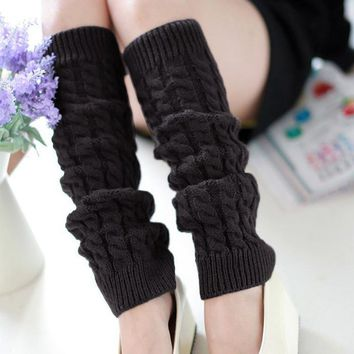 New Arrival 5 Colors Women's Leg Warmers Sexy Warm Thigh High Over The Knee Socks Knit Crochet Long Stockings Girls Ladies Women