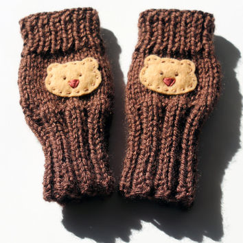 Cute Toddlers Fingerless Gloves, Baby Bear, Chocolate, Small Cute Kids