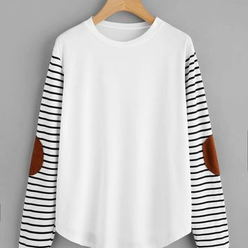 Elbow Patch Striped Sleeve T-shirt