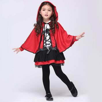 new arrival children girl Little Red Riding Hood cosplay dress princess halloween costume