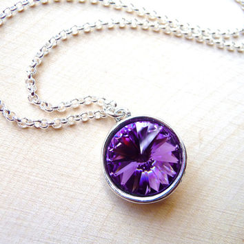 Tanzanite Purple Crystal Pendant Necklace, Swarovski Crystal Necklace, Crystal Purple Rivoli, Purple Necklace, Christmas Gift, Under 35