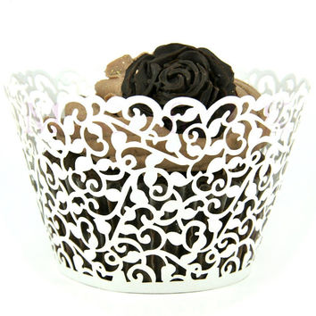 12pcs White Laser Cut Cupcake Wrappers Wedding Birthday Holiday Party Supplies