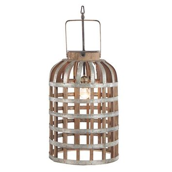 Alluring Caged Metal and Wood Hanging Lantern, Brown and Silver By Casagear Home