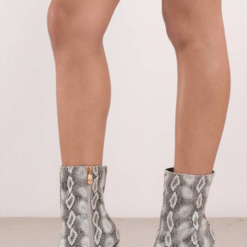 Jojo Snake Skin Faux Leather Boots