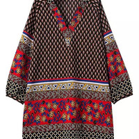 Multicolor Retro Folk Print V-neck Shift Dress