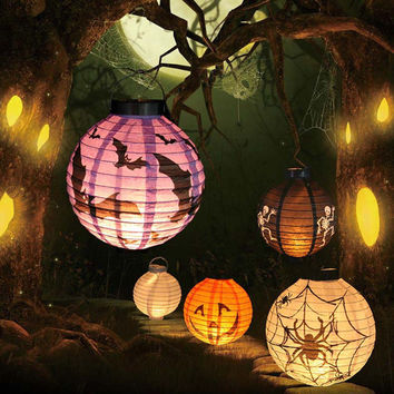 1 pcs Halloween Decoration LED Paper Pumpkin Light Hanging Lantern Lamp Halloween Props Outdoor Party Supplies MJ01055