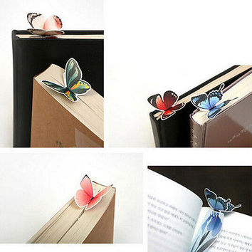 2Pcs Butterfly Shape Exquisite Mini Bookmark Stationery Reading Accessories LS