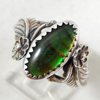 Vintage KABANA Sterling Silver Paua Shell Southwestern Ring Size 7