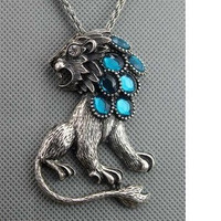 lion blue cut gemstone retro silver tone chain by dollarjewelry on Etsy