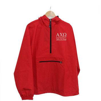 Alpha Chi Omega Pack and Go Embroidered Pullover, Alpha Chi Omega Windbreaker, Alpha Chi Light Weight UNLINED Windbreaker, AXO Anorak