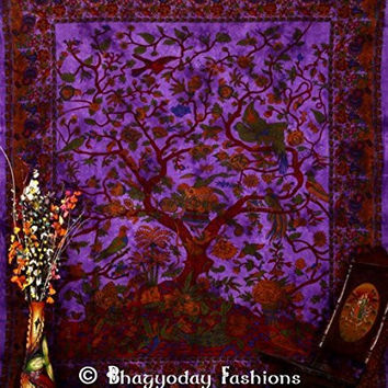 """Indian Tree of Life Tapestry, Hippy Gypsy Wall Hanging, Hippie Indian Tapestry ,Throw Vintage Cotton Bedspread Decor Art, Table Cloth, Picnic Blanket, 86x94"""" By Bhagyoday"""