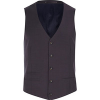 River Island MensGrey wool-blend button front vest