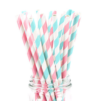 25 Paper Straws - Cotton Candy Stripe - Colored Drinking Straw Birthday Baby Shower Cake Pop Sticks Girl Boy Pink Blue Gender Reveal Party