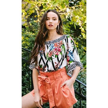 Spice Of Life Multicolor Floral Geometric Pattern 3/4 Bell Sleeve Off The Shoulder Blouse Top