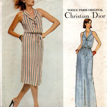 Christian Dior 80s Vogue Paris Original Sewing Pattern Halter Neck Dress Maxi Midi Bare Shoulders Back Drawstring Waist
