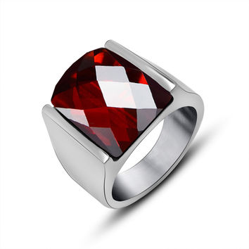 Red 10 Fashion Women Men Luxury Natural Garnet Rings 316L Stainless Steel Smooth Ruby Jewelry Rings For Birthday Gifts 2016