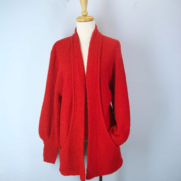 80s Red Boucle Cardigan Sweater, Cardigan with Pockets, Red Sweater Jacket, Slouchy Cardigan, Red Sweater, 1980s Cardigan Sweater