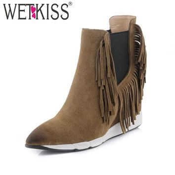 WETKISS Charming Tassel Ankle Boots High Wedge Heel Suede Shoes Women's Shoes Winter Boots Leather Slip On Elastic Band Shoes