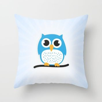 Sweet & cute owl Throw Pillow by Badbugs_art
