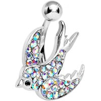 Aurora Gem Paved Sparkling Songbird Belly Ring | Body Candy Body Jewelry