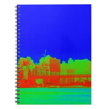 Cobalt Blue NYC Skyline River View Notebook